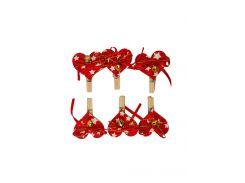 Декоративные новогодние прищепки (6шт) Coincasa 5,5х4см Красный dec0000286