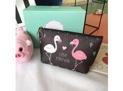 Косметичка Cute Flamingo Love Forever Два фламинго Черная (hub_NfKm77423)