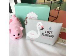 Косметичка Cute Flamingo Серая (hub_WdTh99401)
