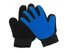 Перчатка для вычесывания шерсти животных True Touch  на правую руку Черный с синим (tdx0000427)