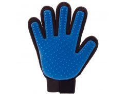 Перчатка для вычесывания шерсти True Touch Черно-чиний (4876)