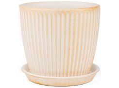 Вазон Зеленая сотка Вертикаль патина 10 х 10 см Белый с оранжевым (000002748)