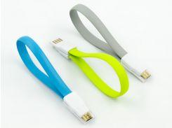 Кабель DENGOS заряда и синхронизации USB 2.0, micro-USB (плоский, голубой, 22 см)(KR-001-BLUE)