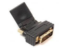 Переходник для подключения HDMI AF - DVI (24+1) AM, PowerPlant, 360 градусов (KD00AS1301)