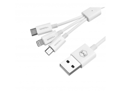 Кабель USB 2 в 1 (Android + iPhone) 1 метр Белый (45052)