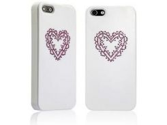 Чехол Star5 Pure Love Series Heart White with Swarovski для iPhone 5/5S/SE
