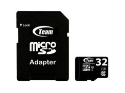 Карта памяти Team microSDHC 32 GB Card Class 10 + SD adapter Черный (71951)