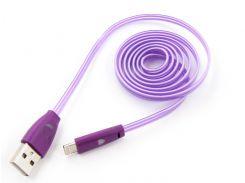 LED-кабель DENGOS Smile USB 2.0, lightning (плоский, фиолетовый, 1м)(PLS-L-LED-PLSK-PURPLE)
