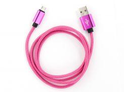 Кабель DENGOS заряда и синхронизации Micro USB (в оплете, розовый, 100см) (NTK-M-MT-PINK)