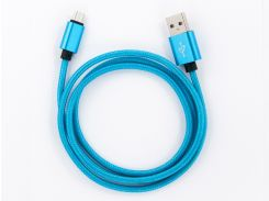 Кабель DENGOS заряда и синхронизации Micro USB (в оплете, голубой, 100см) (NTK-M-MT-BLUE)