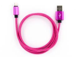 Кабель DENGOS заряда та синхронизации  Lightning (в оплете, розовый, 1м) (NTK-L-MT-PINK)