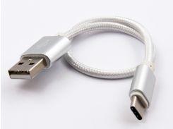 USB Type-С-кабель DENGOS для заряда и синхронизации (серый, 25 см) (NTK-TC-SHRT-WHITE)