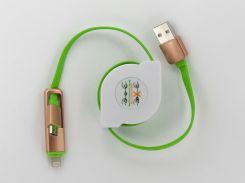 Кабель DENGOS заряда и синхронизации (2в1) Micro USB/Lightning (плоский, зеленый, 100 см) (PD-002)