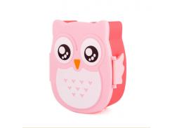 Ланч-бокс Сова Детский пищевой контейнер + ложечка Розовый