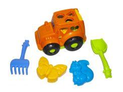 Сортер-трактор Колорпласт Кузнечик с песочным набором Оранжевый (48470)