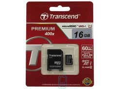 Карта памяти micro SD Transcend 16GB class 10 + SD adapter