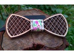 Деревянная бабочка галстук Орнамент Цветы ручной работы, серия Fantasy