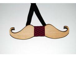 Деревянная бабочка галстук Усики красные квадраты ручной работы