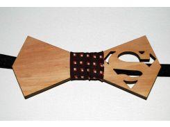 Деревянная бабочка галстук Супермен в клетку ручной работы