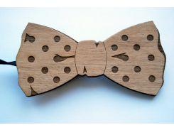 Деревянная бабочка галстук горошек ручной работы