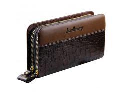 Мужской клатч портмоне BAELLERRY Business Style Мужской портмоне на 2 молнии Crocodile Коричневый