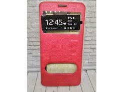 Чехол для Samsung J7 Prime (2017) «Premium Leather Case» Two Windows Книжка красная