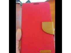Чехол книжка на Samsung J7 Prime G610F красная кожа