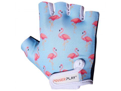 Велорукавички PowerPlay 001 Фламінго 2XS Блакитні (001_Blue_Flamingo_2XS)