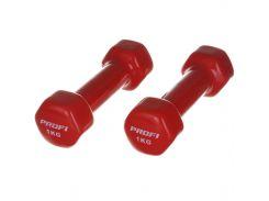 Гантель Profi 1 кг с виниловым покрытием Красный (0289)