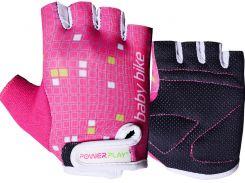 Велоперчатки PowerPlay M Розово-белые (5451_M_Pink-White)