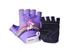 Велорукавички PowerPlay 001 Єдинорог 2XS Фіолетові (001_Purple_2XS)