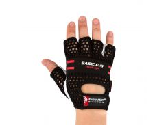 Перчатки для фитнеса и тяжелой атлетики Power System Basic EVO PS-2100 L Black/Red Line (VZ55PS_2100E_L_Black/Red)