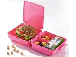 Ланч-бокс Qlux Magic 14х14х8 см пластиковый Розовый (psg_UK-L-00322)