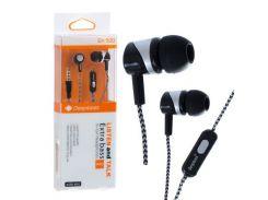 Наушники с микрофоном Deepbass EX-500 Черно-Серебристые (30549)