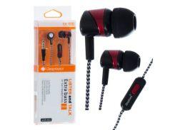 Наушники с микрофоном Deepbass EX-500 Черно-Красные (30548)