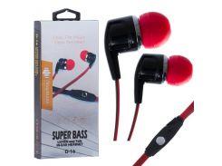 Наушники с микрофоном Deepbass D-16 Черно-Красные (30536)