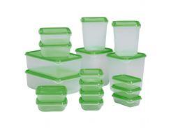 Набор контейнеров для хранения IKEA PRUTA 17 шт Зеленый (601.496.73)