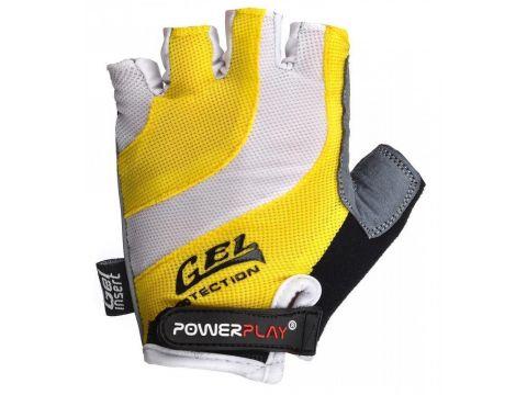 Велорукавички PowerPlay 5034 B L Біло-жовті (5034B_L_Yellow)