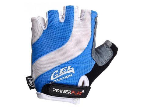 Велорукавички PowerPlay 5034 L Біло-блакитні (5034_L_Blue)