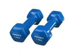 Гантель Profi 1.5 кг с виниловым покрытием Синий (0665)