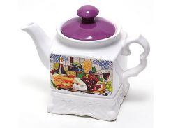 Чайник заварочный Bona Cheese&Wine 1л Белый с рисунком (BD-DU488-W_psg)