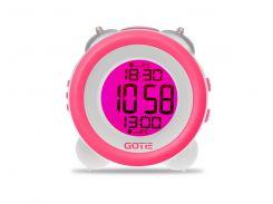Настольные часы GOTIE с будильником Розовые  (GBE-200R)
