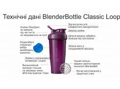 Спортивный шейкер BlenderBottle Classic Loop 590ml Cyan (ORIGINAL) (VZ55Loop 20 Cyan)