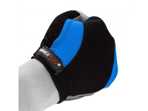 Велорукавички PowerPlay 5041 B L Чорно-блакитні (5041B_L_Blue)