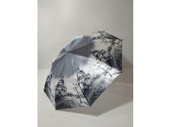 Зонт полуавтомат Calm Rain с изображениями городов сатин Черно-белый (483-5)