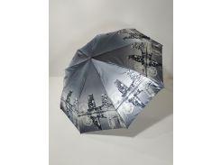 Зонт полуавтомат Calm Rain с изображениями городов сатин Черно-белый (483-4)