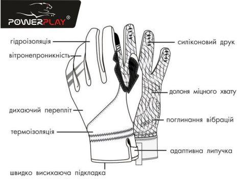 Велорукавички PowerPlay 6554 C Чорні S Киев