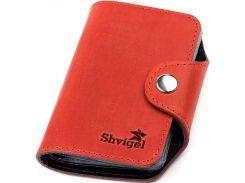 Визитница вертикальная Shvigel кожаная Красная (13910)