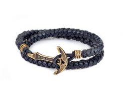 Кожаный браслет с Якорем ANTIQUE Seas Blood Синий (mt1102)