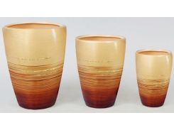 Набор 3 вазы Gold Motifs Brown 17.5 см 15 см и 12 см (psg_BD-254-V47)